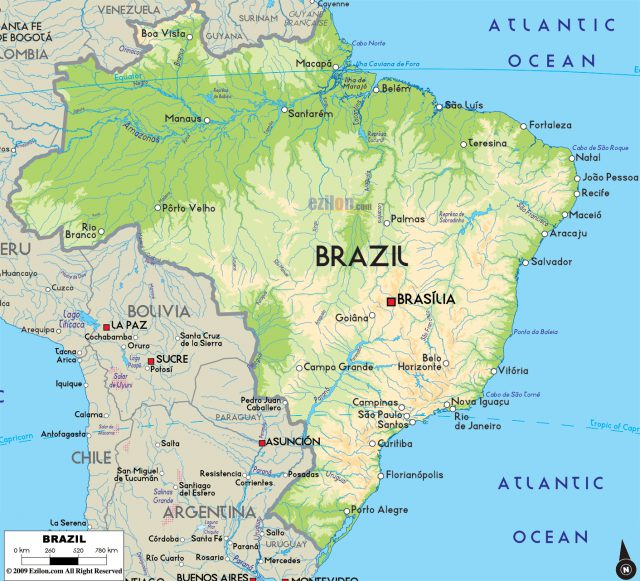 Physical Map Of Brazil
