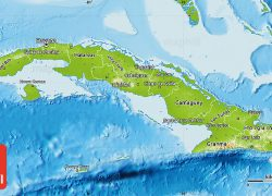 Physical map of cuba from maphill 2