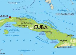 Physical map of cuba from mapsland 4