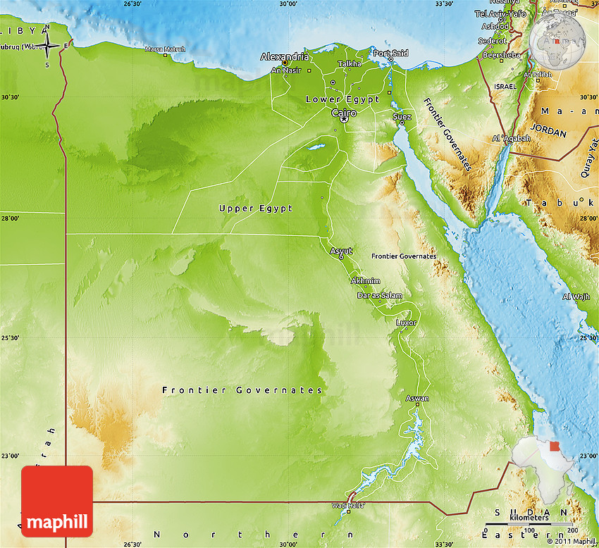 Physical Map Of Egypt From Maphill 1