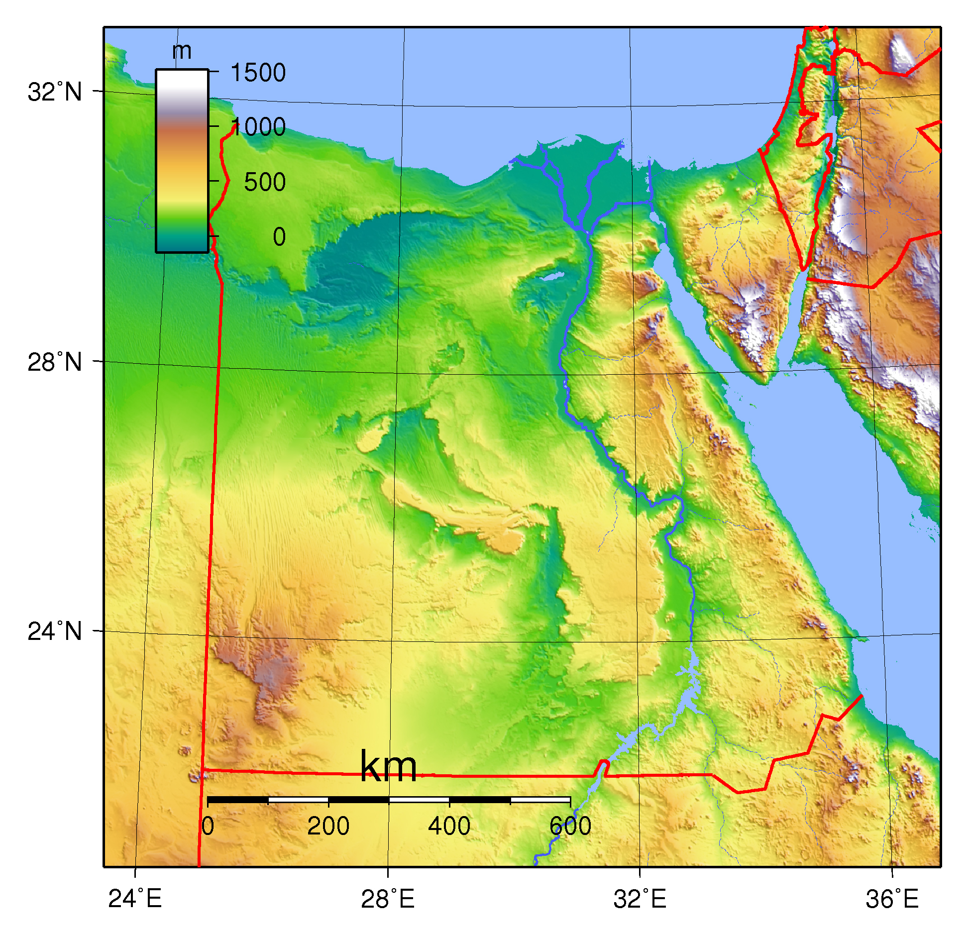Physical Map Of Egypt From Mapsland 6