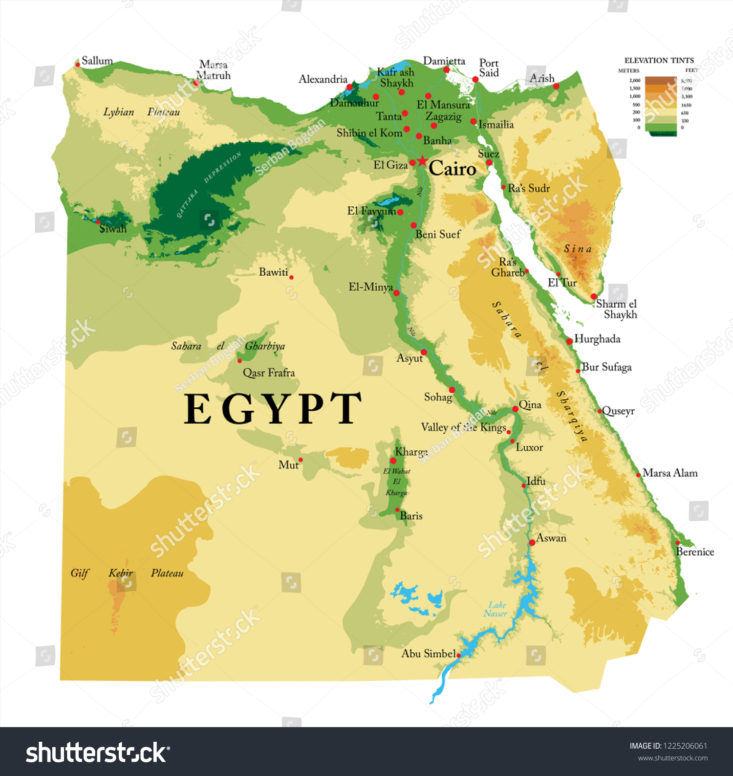 Physical Map Of Egypt From Shutterstock 3