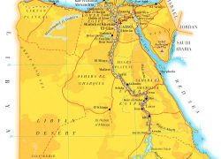 Physical map of egypt from vidiani 2