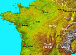 Physical Map Of France: Physical map of france from about france 1