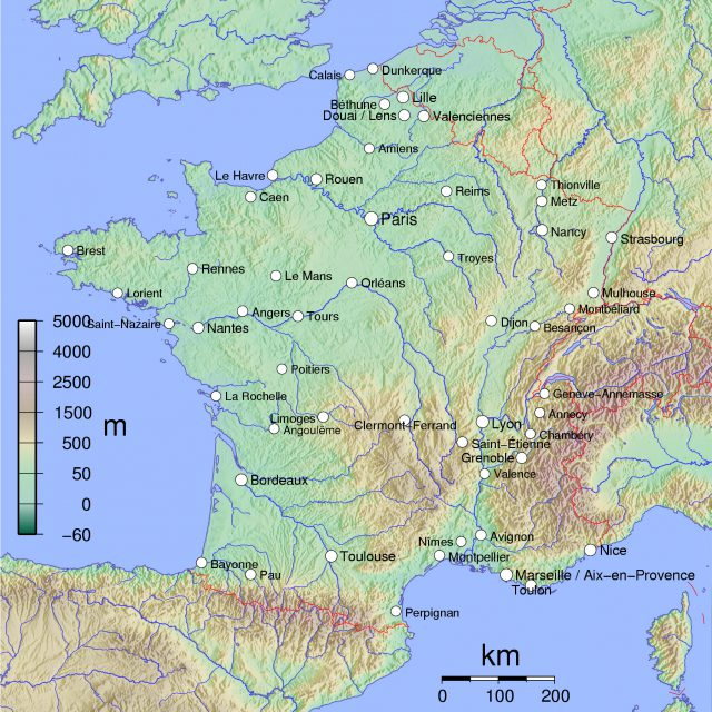 Physical Map Of France