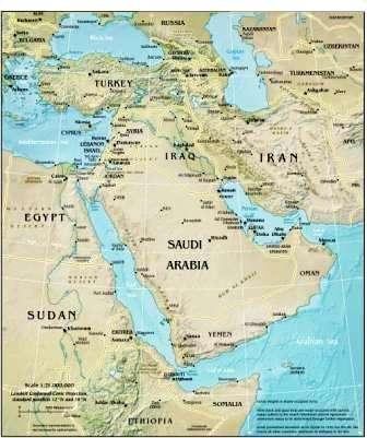 Physical Map Of Middle East