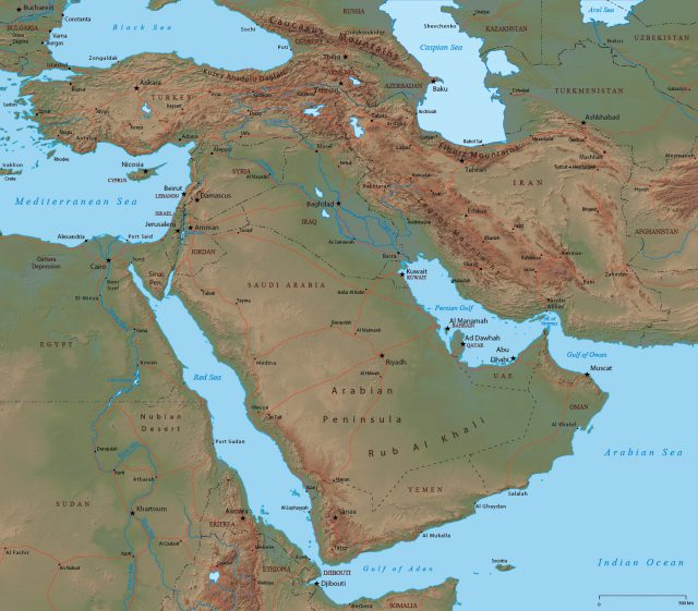 Physical map of middle east from geographicguide 1