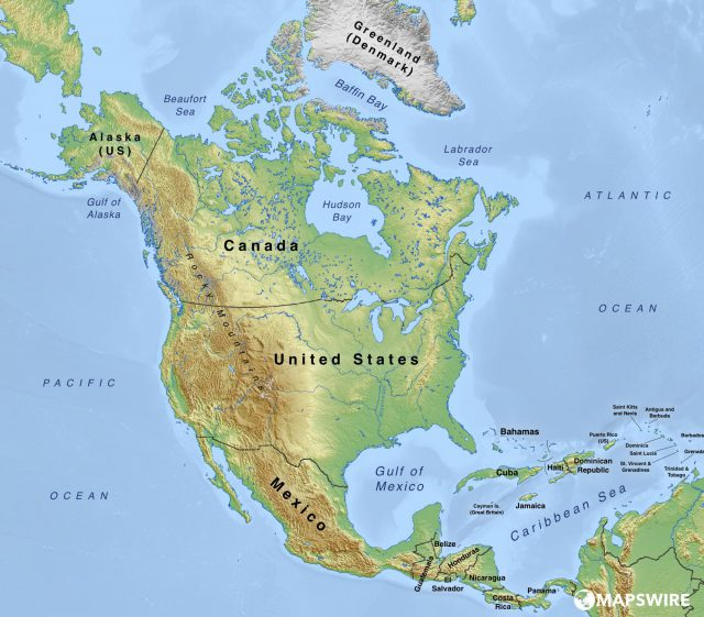 Physical Map Of North America
