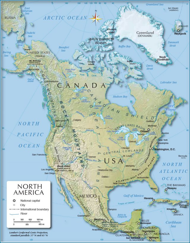 Physical map of north america from nationsonline 1