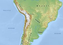 Physical map of south america from mapswire 9