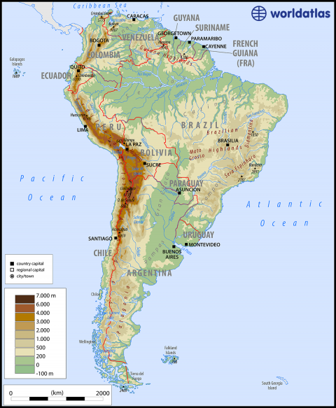 Physical map of south america from worldatlas 1