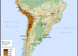 Physical map of south america from worldatlas 7