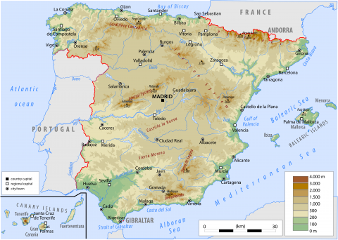 Physical map of spain from worldatlas 1