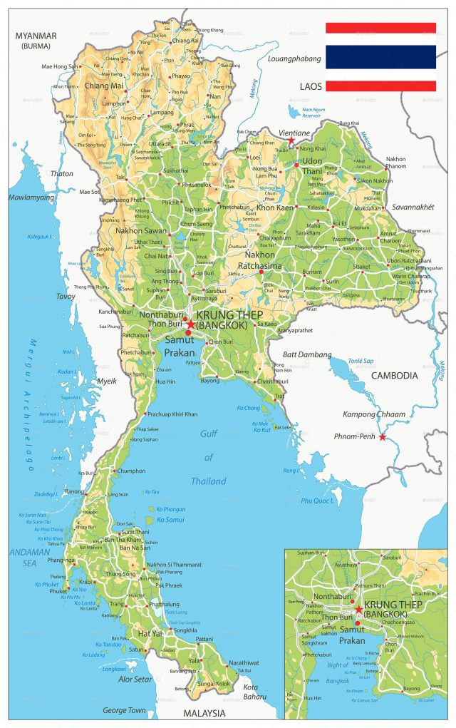 Physical map of thailand from in 1