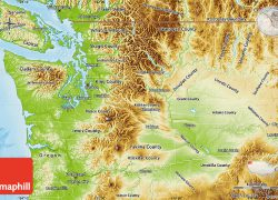 Physical Map Of Washington State: Physical map of washington state from maphill 1