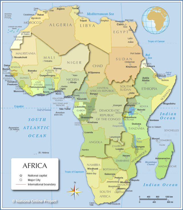 Political map of africa from nationsonline 1