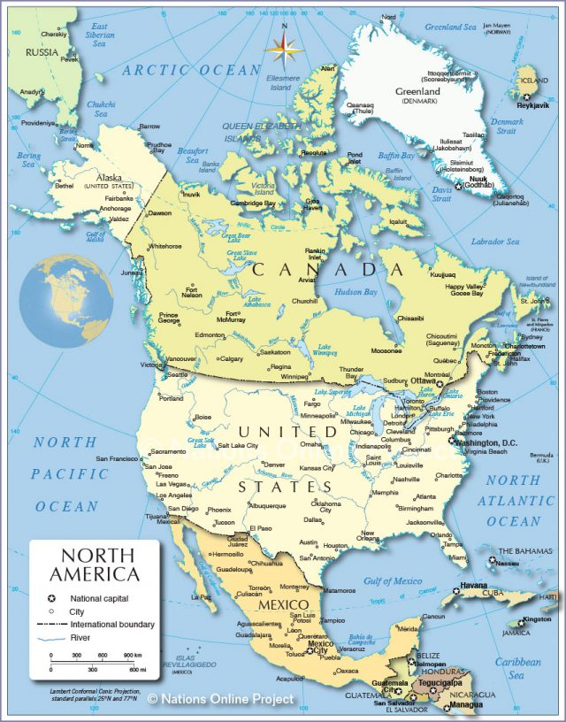 Political map of america from nationsonline 1