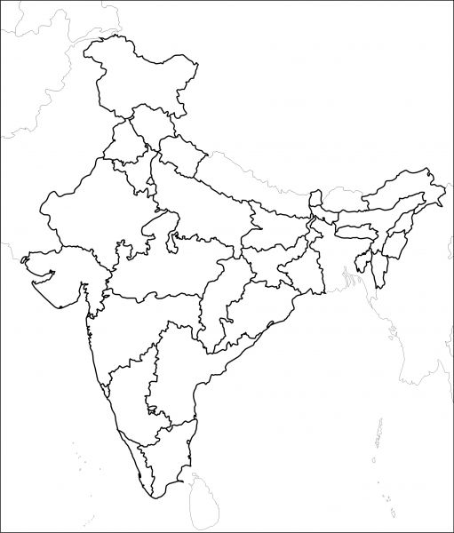 Political map of india outline from pinterest 1