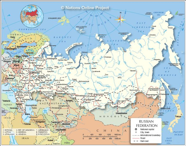 Political map of russia from nationsonline 1