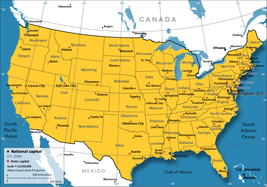 Political Map Of The United States From Nationsonline 9