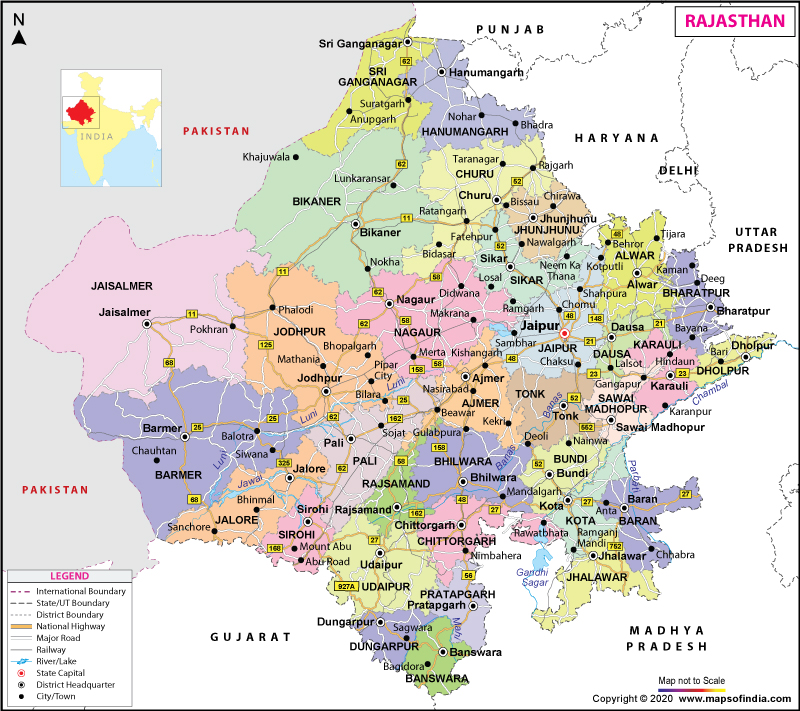 Rajasthan Map From Mapsofindia 1
