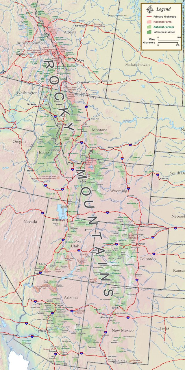 Rocky Mountains On A Map