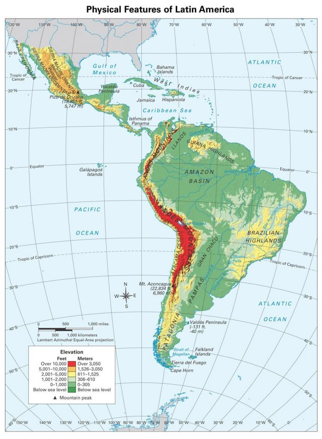 South america physical features map from pinterest 1