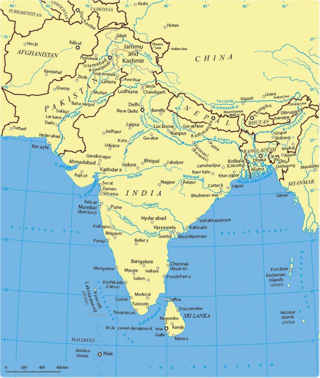 South Asia Physical Map