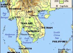 Southeast Asia Physical Map: Southeast asia physical map from britannica 1