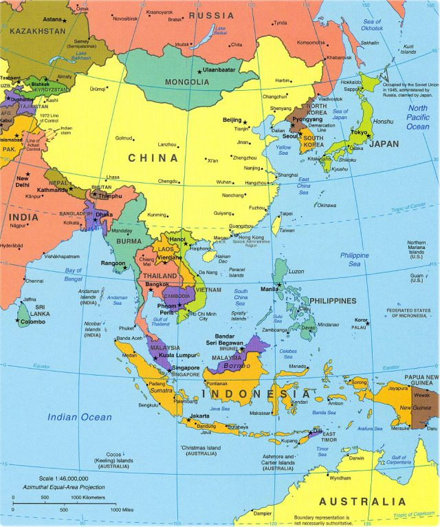Southeast asia political map from geographicguide 1