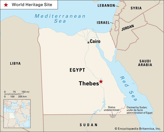 Thebes egypt map from britannica 1