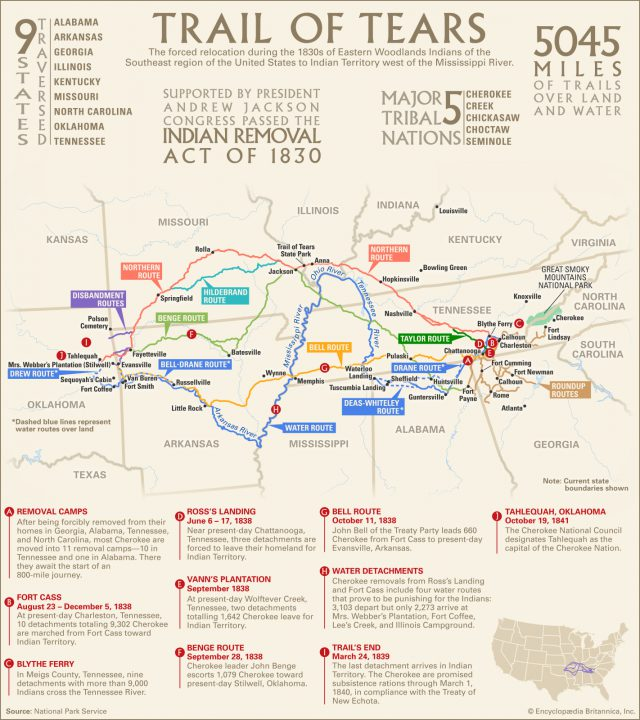 Trail of tears map from britannica 1