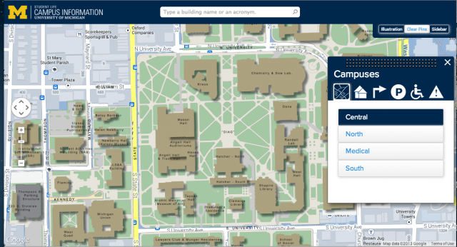 University of michigan campus map from ssd 1