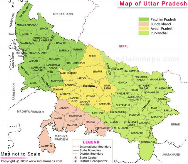 Uttar pradesh map from in 1