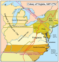 Virginia colony map from en 1