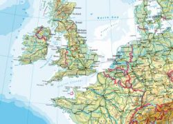 Western Europe Physical Map: Western europe physical map from diercke 1