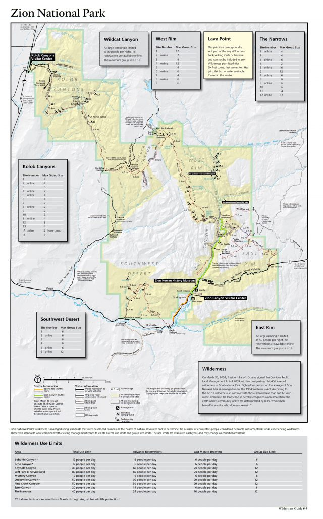 Zion national park map from nps 1