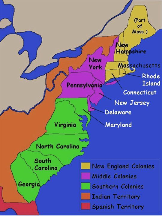 13 Colonies Map With Names