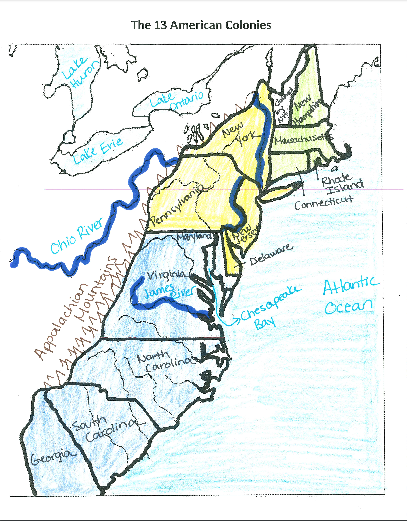 13 colonies map with rivers from quizlet 1
