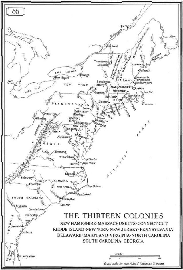 13 Colonies Map With Rivers