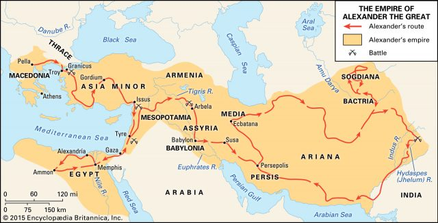 Alexander the great conquest map from britannica 2