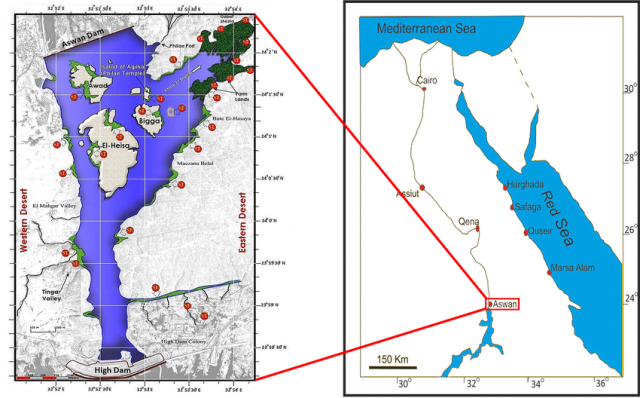 Aswan dam map from researchgate 2
