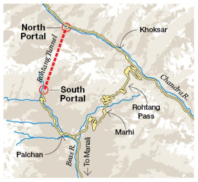 Atal Tunnel Map