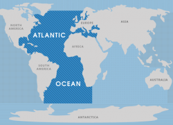Atlantic ocean on map from whatarethe7continents 7