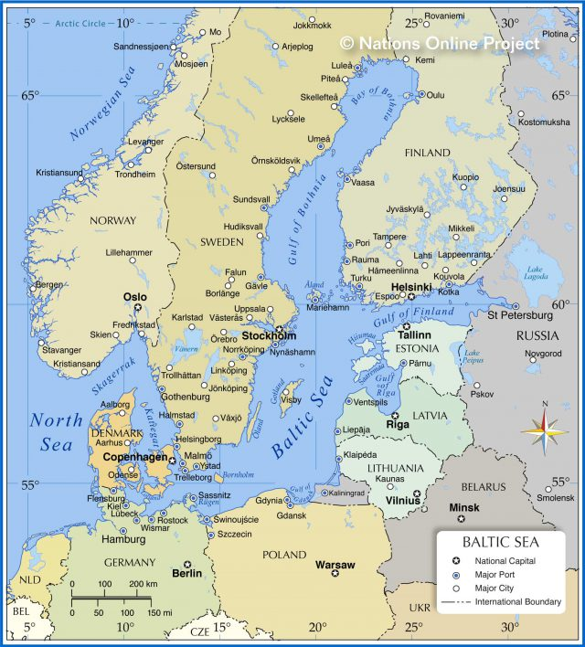 Baltic sea map from nationsonline 1