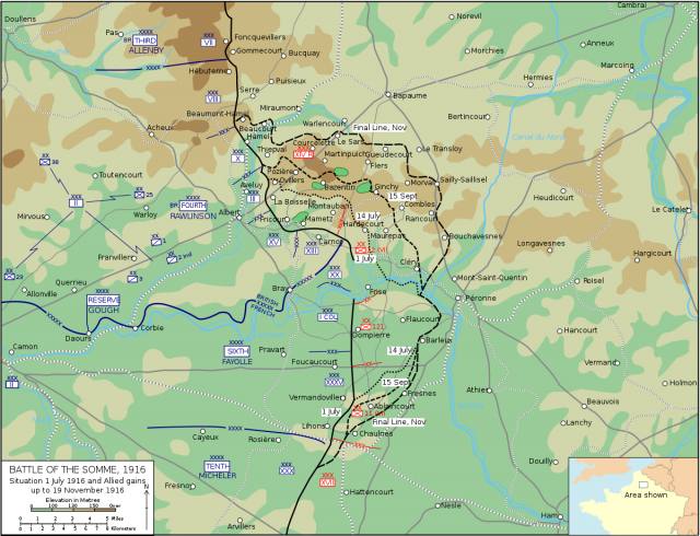 Battle of the somme map from en 1