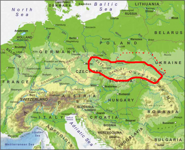 Carpathian mountains map from pinterest 1