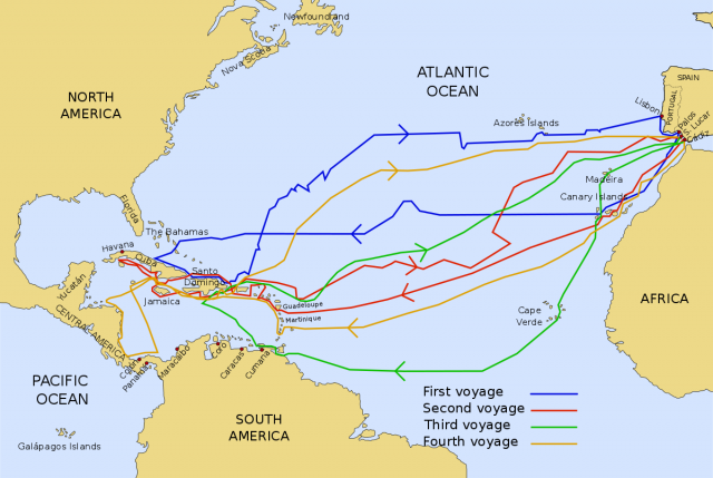 Christopher columbus map of exploration from en 1