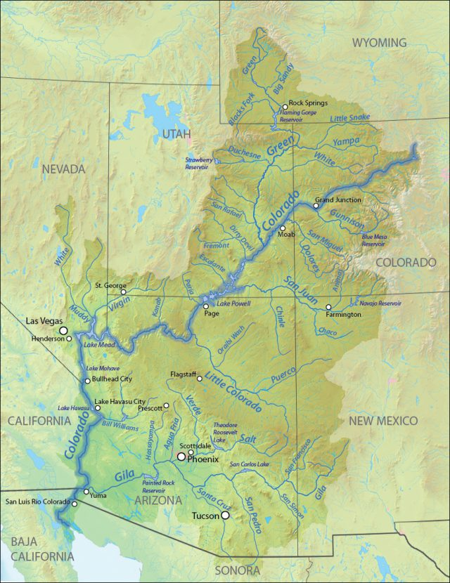 Colorado river on a map from americanrivers 1