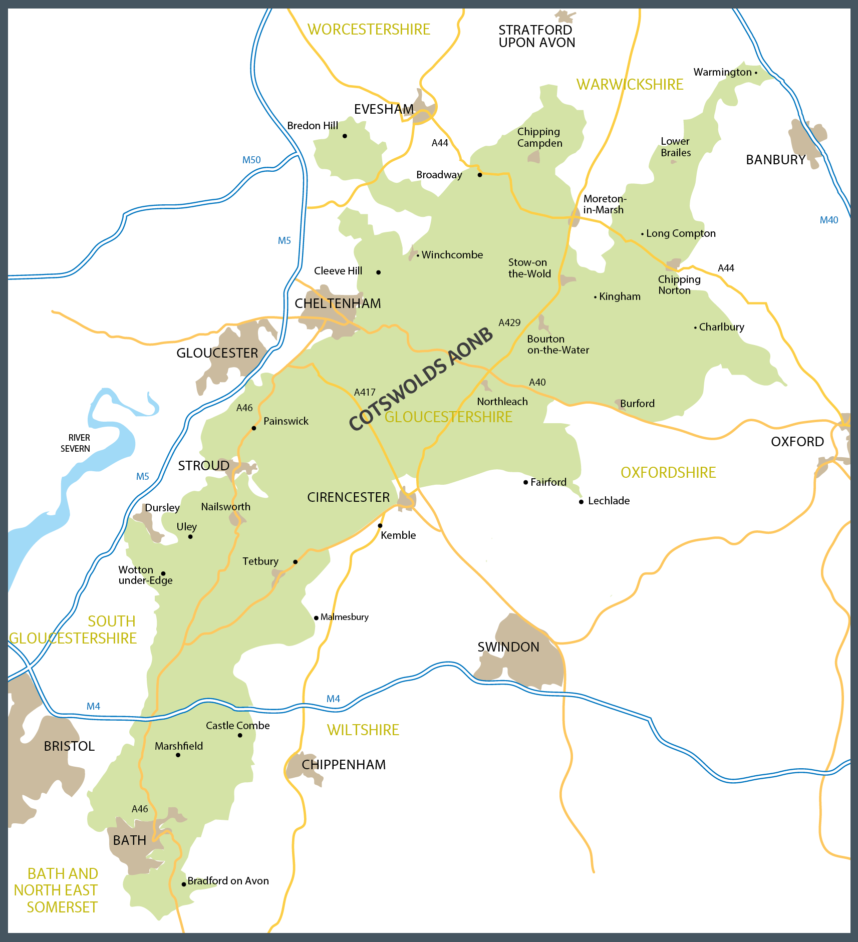 Cotswolds Map From Pinterest 2